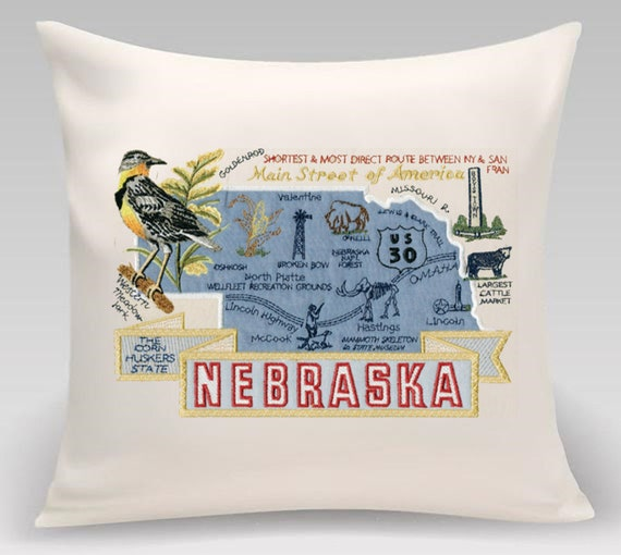 Nebraska - Embroidered and appliqued state pillow featuring iconic landmarks with the state flower and bird - Handmade