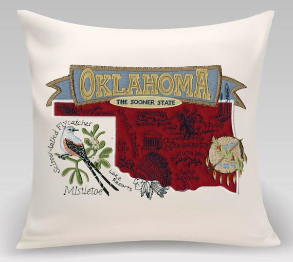 Oklahoma- Embroidered pillow featuring iconic landmarks with the state bird and flower- Housewarming - Realtor gift