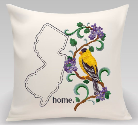New Jersey - Embroidered  Eastern Goldfinch and Purple Violet Medley-Handmade-Home Decor- Housewarming gift - Wedding gift