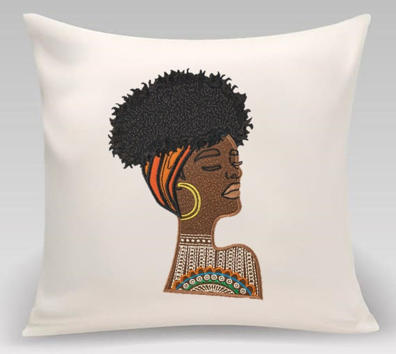 Home decor- Decorative pillow- African woman- Embroidered - Gift for home