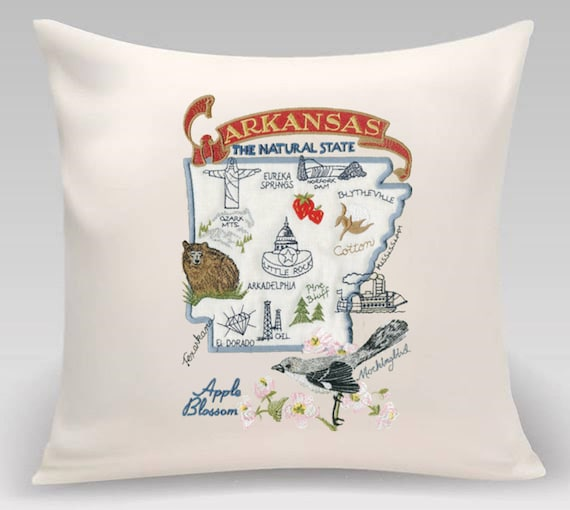 Arkansas Pillow -Embroidered and Appliqued throw pillow- USA State-Decorative pillow-Wedding gift- Housewarming gift