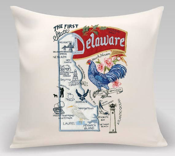 Delaware Pillow- Embroidered and Appliqued throw pillow-USA State- Decorative pillow-Home Decor - Housewarming gift-Wedding gift