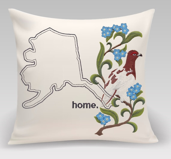 Alaska  Embroidered  Willow Ptarmigan and Forget-Me-Not Medley - Home Decor - Housewarming gift - Wedding gift