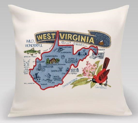 """West Virginia Map Pillow - 16"""" x 16"""" with feather insert -  Embroidered Landmarks- West Virginia State pillow"""
