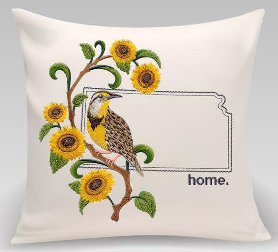 Kansas State embroidered  Western Meadowlark and Sunflower Medley - Housewarming gift - Wedding gift