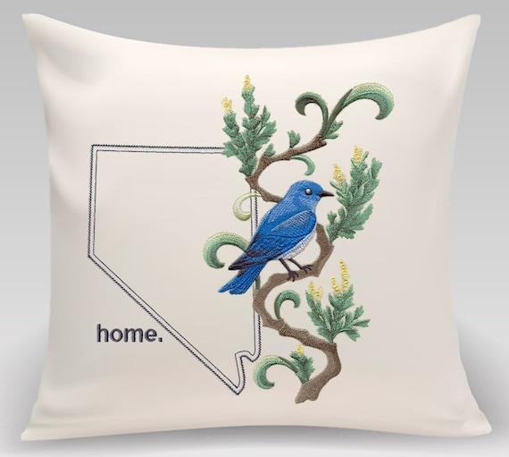 Nevada Embroidered  Mountain Bluebird and Sagebrush Medley-Handmade pillow-Home decor-Housewarming gift-Wedding gift