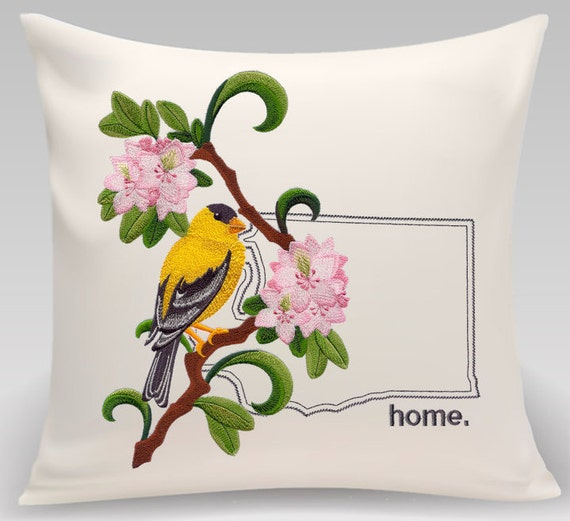 Washington embroidered  Willow Goldfinch and Rhododendron Medley-Handmade pillow-Home Decor- Housewarming gift - Wedding gift
