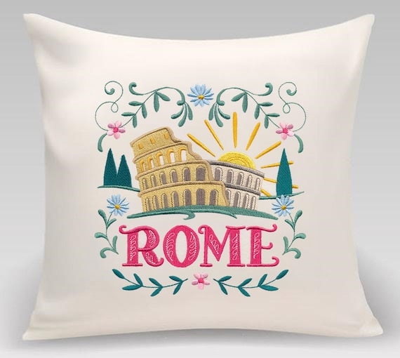 Rome - Embroidered decorative pillow - Home decor - Home and Living, 16 x 16 with feather insert