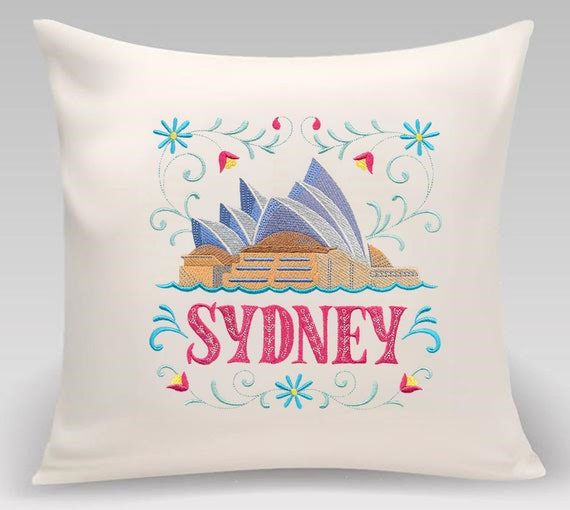 Sydney - Embroidered decorative pillow - Home and Living - Home decor 16 x 16 with feather insert