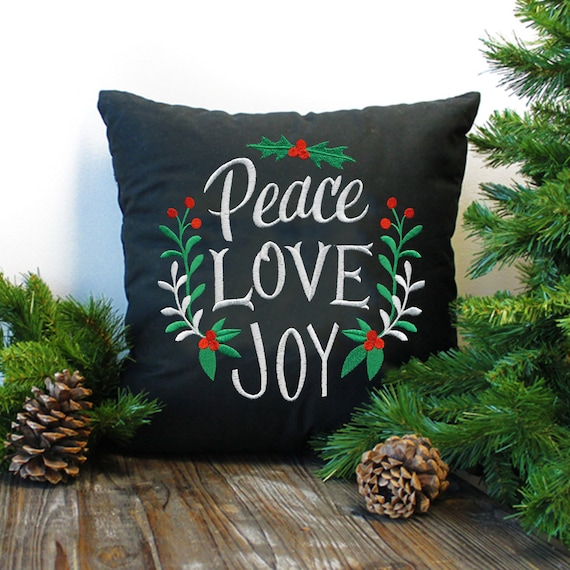 Peace, Love and Joy - A Christmas greeting in a simple chalkboard style - Decorative pillow- Embroidered- Home decor- Holiday decor