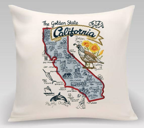California Pillow- Embroidered Landmarks- Handmade- Fully lined with insert