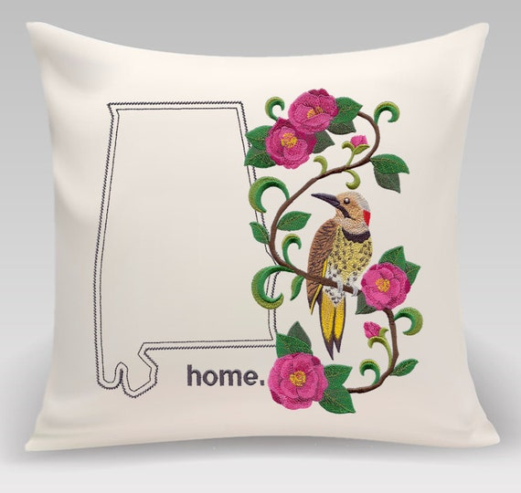 Alabama Embroidered  Yellowhammer and Camellia Medley-Handmade pillow-Home decor-Housewarming gift - Wedding gift