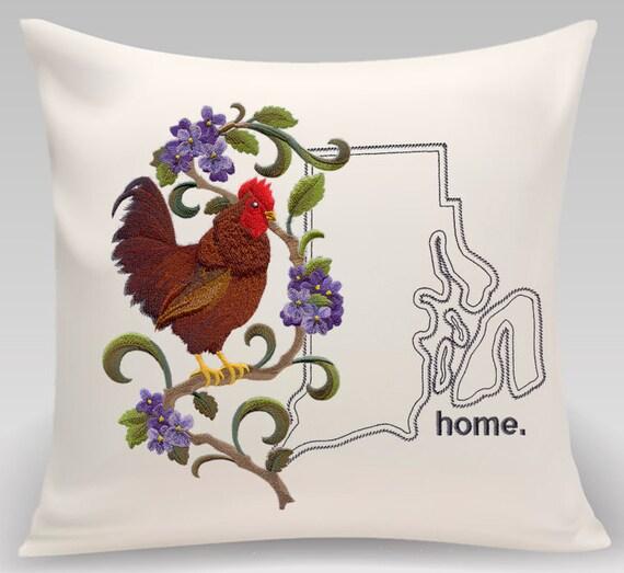 Rhode Island Embroidered  Rhode Island Red and Violet Medley-Handmade pillow-Housewarming gift- Wedding gift
