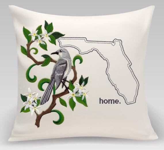 Florida Embroidered  Mockingbird and Orange blossom Medley-Handmade pillow-Home decor-Housewarming gift - Wedding gift
