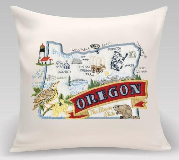 Oregon Pillow-Custom Embroidery