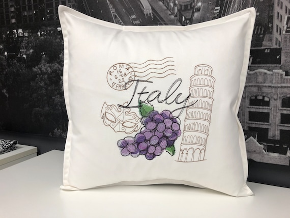 Italy - Embroidered decorative pillow - Home decor - Home and Living 16 x 16 with feather insert