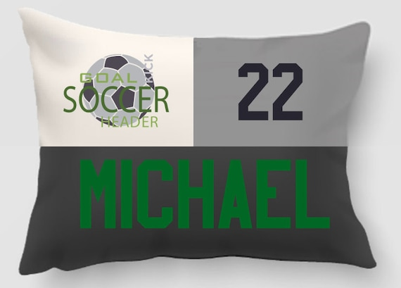 Soccer Pillow - Personalized and Embroidered With Name and Player Number - Handmade and fully lined with insert