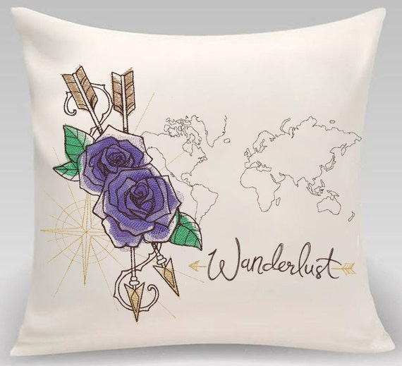 Throw pillow-Throw pillow cover-Embroidered pillow cover-Wanderlust-Roses-Arrows-World-Handmade pillow-Princeton Threads-Home decor