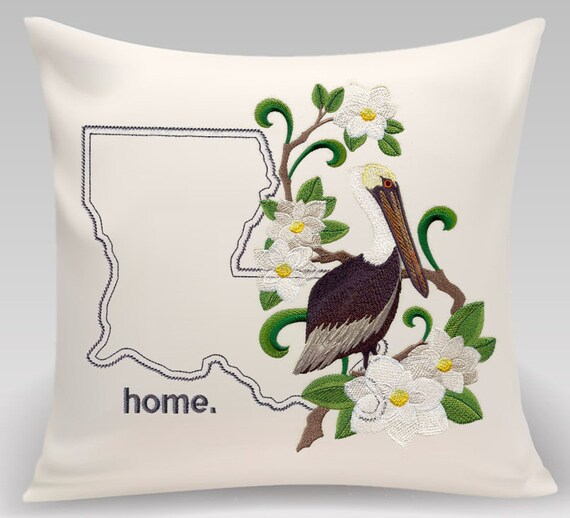 Louisana Embroidered Eastern Brown Pelican and Magnolia Medley-Handmade pillow-Home decor-Housewarming gift-Wedding gift