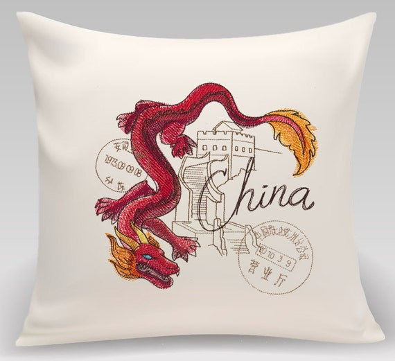 """China-Embroidered decorative pillow -16x16 """" Home Decor, Home and Living Decorative Pillow"""