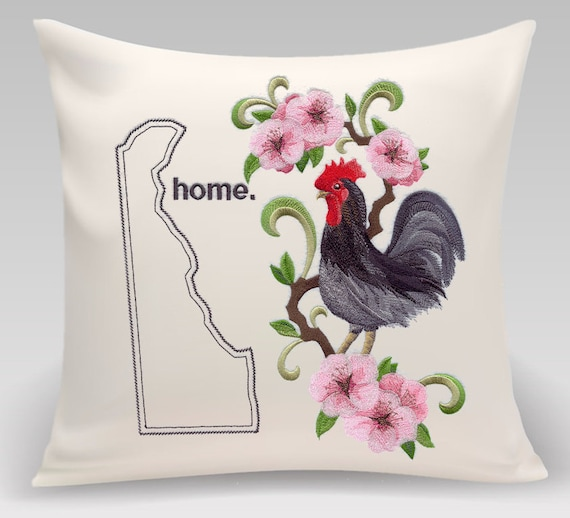 Delaware embroidered Blue Hen Chicken and Peach Blossom-Handmade pillow-Home decor-Housewarming gift-Wedding gift