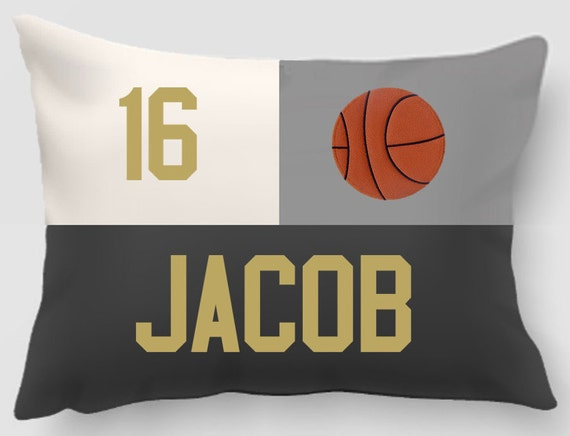 Basketball - Embroidered and appliqued personalized pillow with Name and Player number - Home decor - Sports gift - Team gift