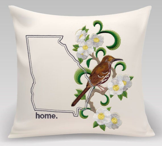 Georgia  embroidered Brown Thrasher and Cherokee Rose Medley -  Home decor - Housewarming gift - Wedding gift