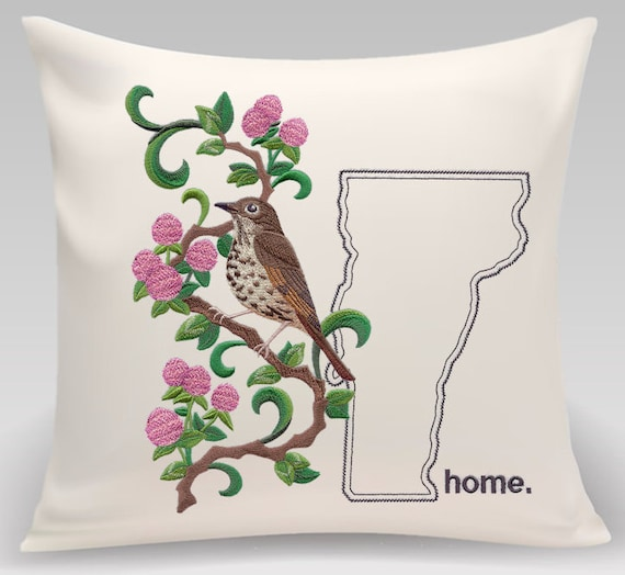 Vermont Embroidered  Hermit Thrush and Red Clover Medley-Handmade pillow-Home Decor-Housewarming gift-Wedding gift