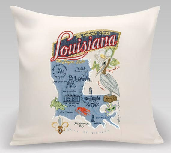 Louisana Pillow- Embroidered and Appliqued throw pillow- USA State- Decorative pillow-Home Decor - Wedding gift-Housewarming gift