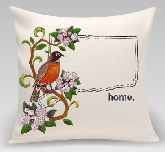 Connecticut Rob and Mountain Laurel Medley-Embroidered pillow - Home decor - Decorative pillow -Princeton Threads