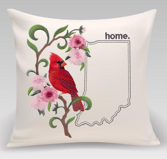 Indiana -Embroidered Cardinal & Peony Medley-Handmade pillow-Home Decor-Housewarming gift - Wedding gift
