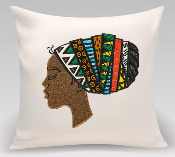 African woman- Embroidered decorative pillow- home decor- home and living