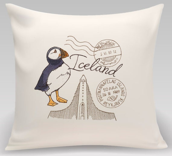 Iceland -Embroidered throw pillow 16 x 16 with feather insert-Iceland-Home decor, Home and Living