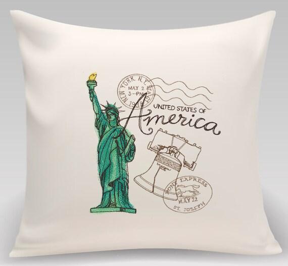 USA - America - Embroidered decorative pillow - Home decor - Home and Living