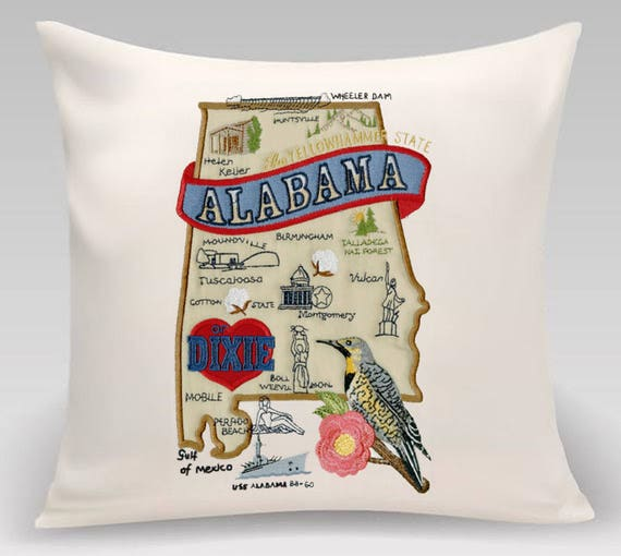 """Alabama  Map Pillow - Embroidered Landmarks - 16"""" x 16"""" Handmade  Fully lined with feather insert -  Alabama State Pillow"""