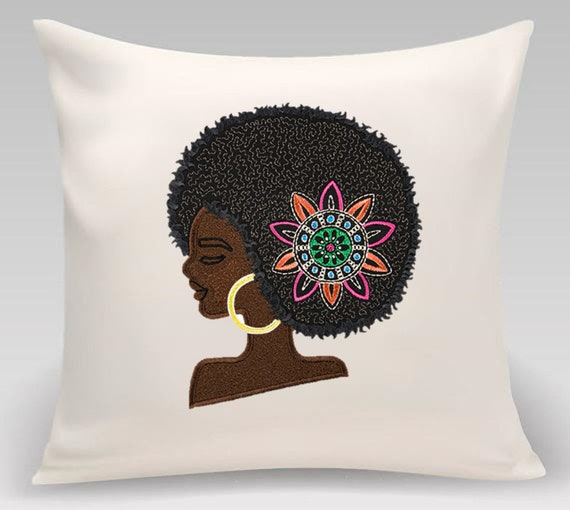 African Woman - Home decor- Home and Living - Embroidered decorative pillow - African woman