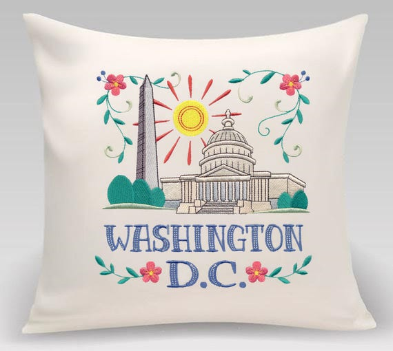 Embroidered pillow- Wanderlust-Washington DC- Decorative pillow-Home decor-Bedroom Decor-Princeton Threads