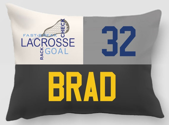 Lacrosse pillow -Embroidered and Applique twill personalized sports pillow -Sports gift-Handmade pillow-Home decor-Dorm Decor