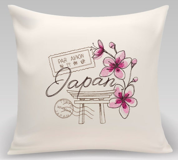 Japan - Embroidered decorative pillow - Home decor - Home and Living