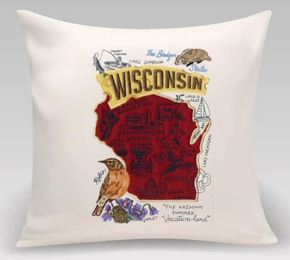 Wisconsin embroidered decorative pillow- The Badger State -USA State - Home decor- Princeton Threads