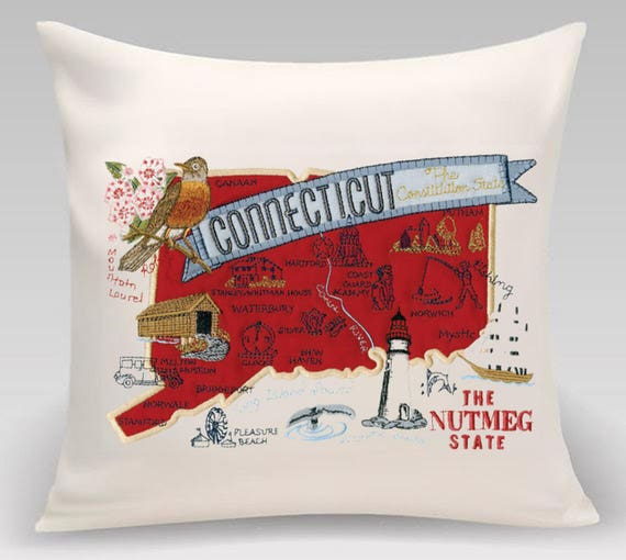 Connecticut Pillow- Embroidered and Appliqued throw pillow- USA State- Decorative pillow-Home Decor -Wedding gift-Housewarming gift