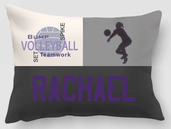 Volleyball - Embroidered and Applique twill personalized sports pillow -Sports gift- Dorm decor-Team gift-Birthday gift