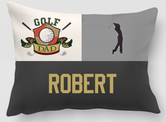 Throw pillow-throw pillow cover-Embroidered throw pillow-Golf pillow-Golf Dad-Sewn twill letters-Handmade pillow-Home Decor-Gift for Dad