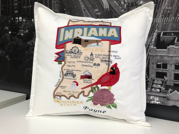 Indiana pillow- Embroidered Landmarks- Handmade, fully lined with insert