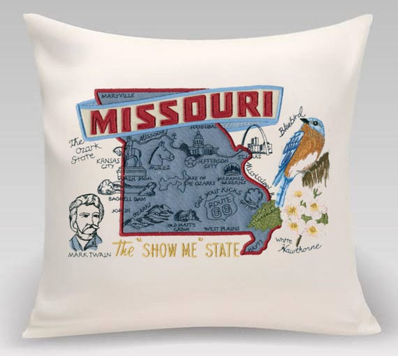 Missouri Pillow- Embroidered and Appliqued throw pillow-Throw pillow cover- USA State- Decorative pillow-Home Decor - Handmade- Wedding gift