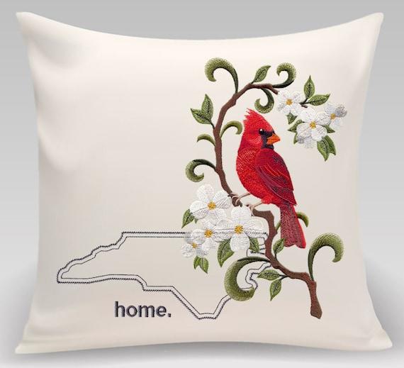 North Carolina and Virginia Embroidered Cardinal and Dogwood Medley-Home decor- Housewarming gift - Wedding gift