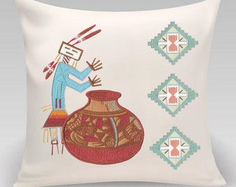 Southwestern Sand Art - Embroidered and appliqued pillow - Decorative pillow - Home decor- Home and Living - Gift for home