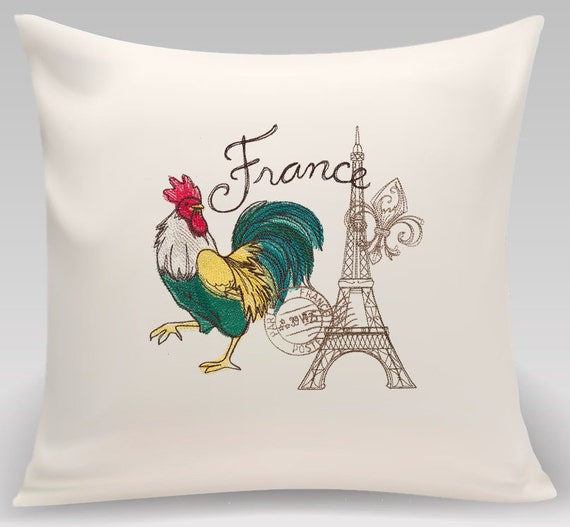 France - Embroidered decorative pillow - Home decor - Home and Living