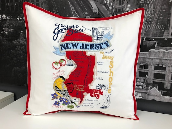 New Jersey Landmarks pillow with contrast border. 16 x 16 with feather insert included! Embroidered. Housewarming, wedding gift. Home decor