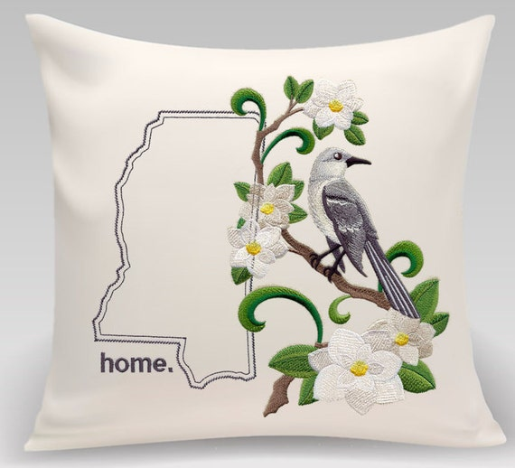 Mississippi embroidered Magnolia-Mockingbird Medley - Housewarming gift - Wedding gift